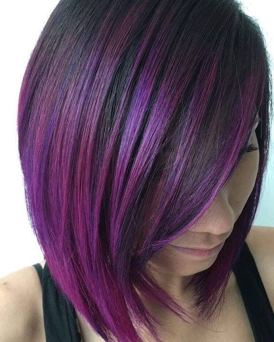 short sleek bob haircut with purple and fuchsia balayage is a trendy way to stand out