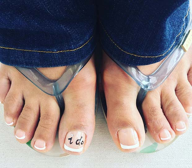 French Pedicure with Say I do Accent Nail for Wedding Pedicure Idea for Brides