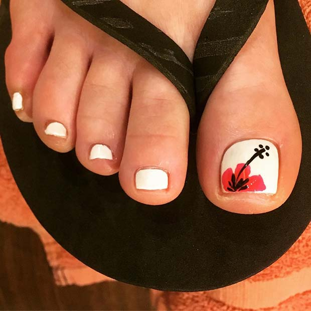 White Pedicure with Tropical Flower Accent Nail for Wedding Pedicure Idea for Brides