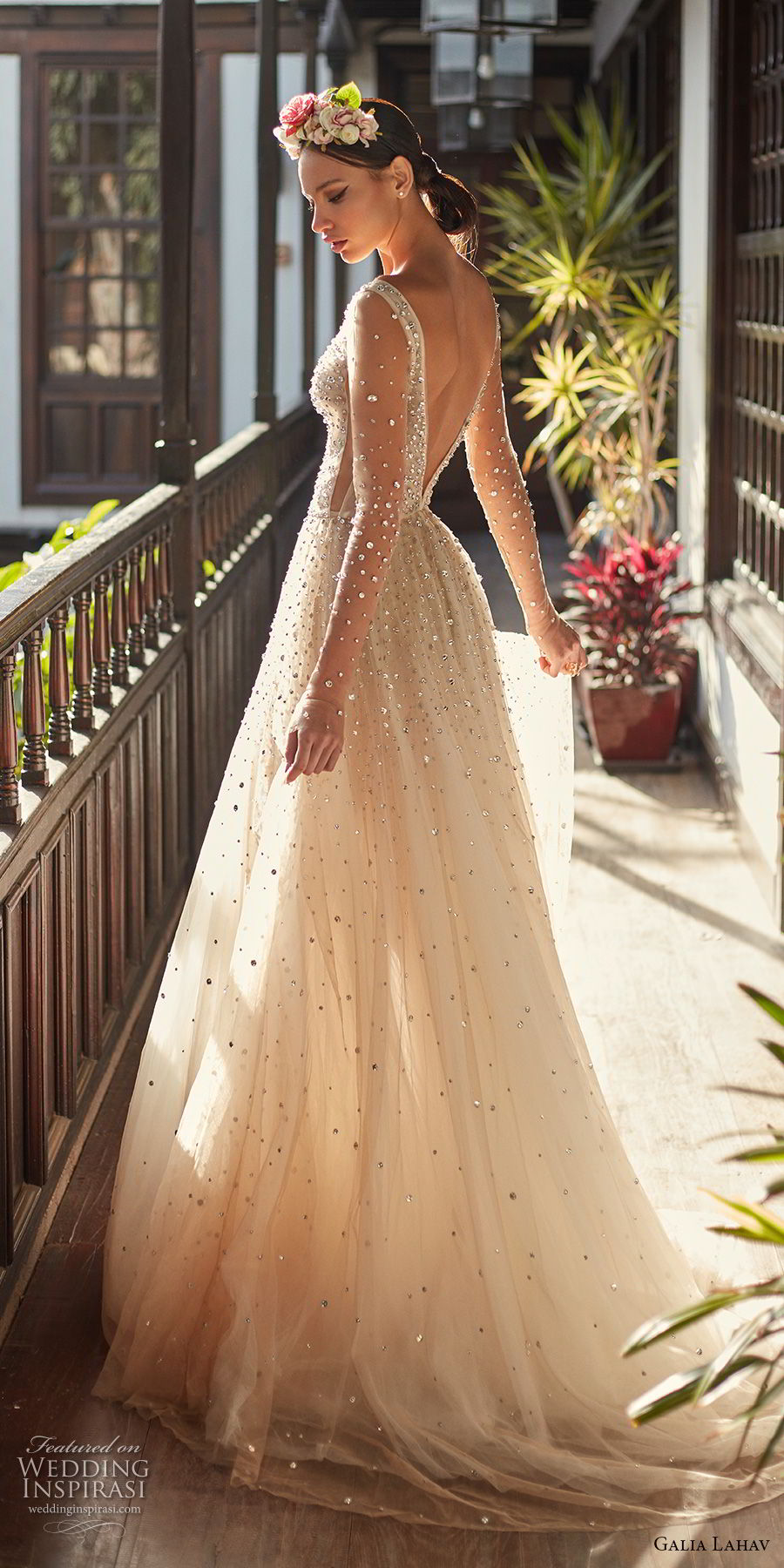 galia lahav couture fall 2018 bridal sheer long sleeves deep plunging v neck full beaded embellishment creame color romantic soft a line wedding dress open v back chapel train (2) bv