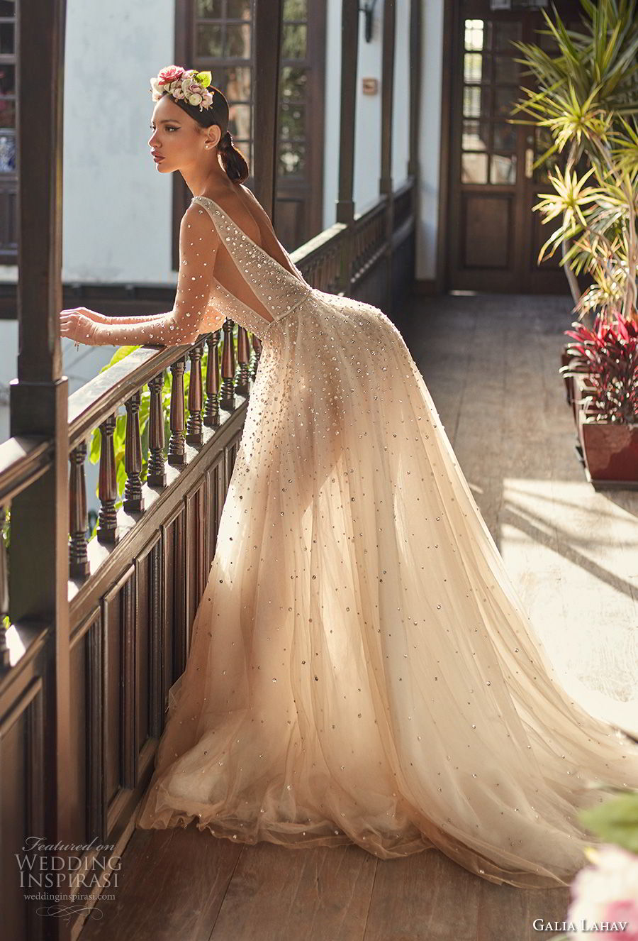 galia lahav couture fall 2018 bridal sheer long sleeves deep plunging v neck full beaded embellishment creame color romantic soft a line wedding dress open v back chapel train (2) sdv