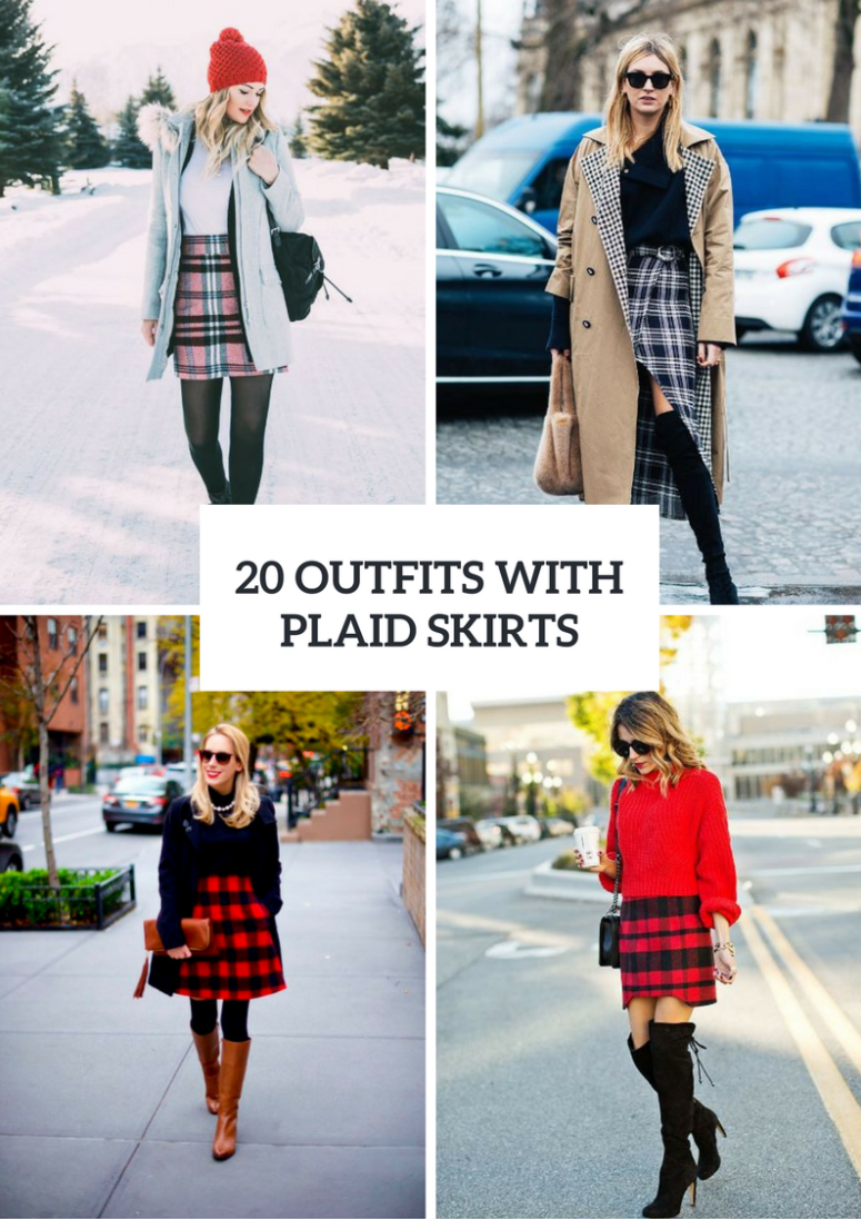 Outfits With Plaid Skirts For Winter