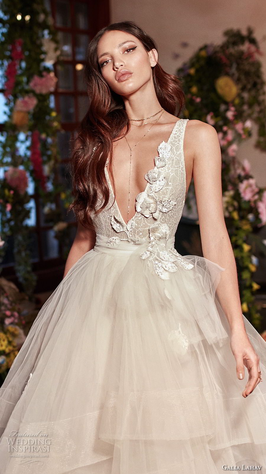galia lahav couture fall 2018 bridal sleeveless deep v neck heavily embellished bodice tulle layered skirt sexy romantic a line wedding dress open back medium train (8) zv
