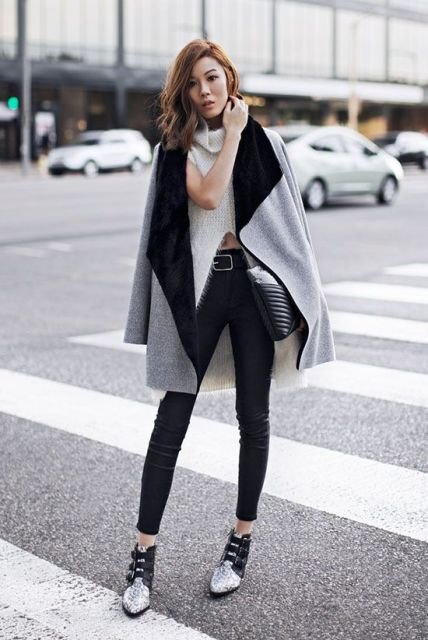 With white sweater, skinny pants and two color shoes