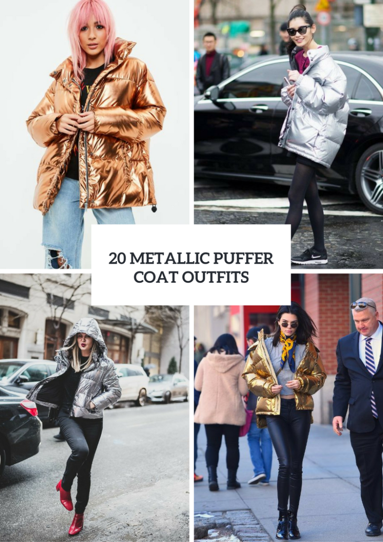 Women Outfits With Metallic Puffer Coats