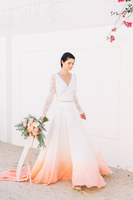 a bridal separate with a V-neckline lace sleeve top and an ombre peach coral skirt