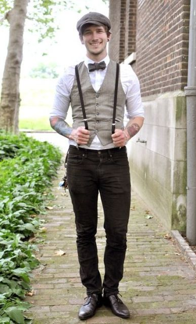 With white shirt, bow tie, dark gray pants, shoes and flat cap