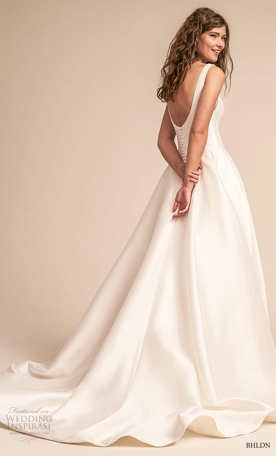 bhldn 2018 away bridal sleeveless scoop neckline simple clean bodice satin skirt classic ball gown a line wedding dress scoop back chapel train (3) bv