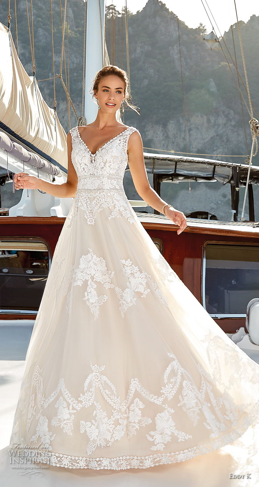 eddy k 2018 bridal sleeveless v neck heavily embellished bodice romantic a line wedding dress v back chapel train (21) mv