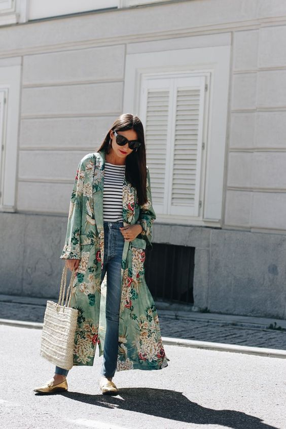 blue straight jeans, a striped top, a floral long kimono, metallic flats