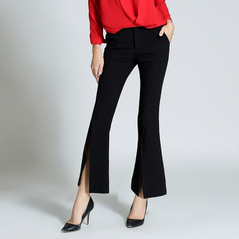 With red blouse and black pumps