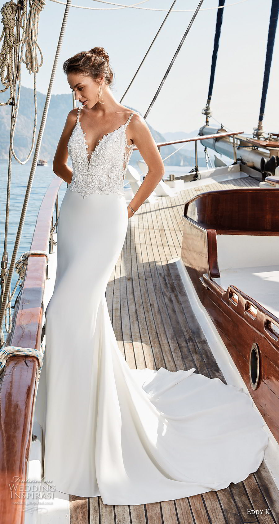 eddy k 2018 bridal sleeveless thin strap v neck heavily embellished bodice elegant sheath wedding dress open back sweep train (31) mv