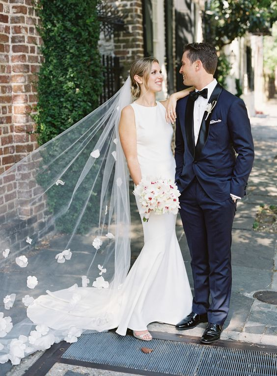 a chic veil with fabric floral appliques and trim for a spring or garden feel