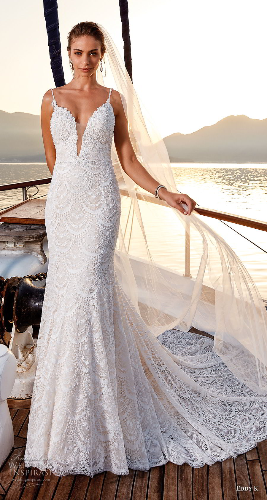 eddy k 2018 bridal sleeveless spaghetti strap deep plunging sweetheart neckline full embellishment romantic fit and flare wedding dress open back chapel train (7) mv