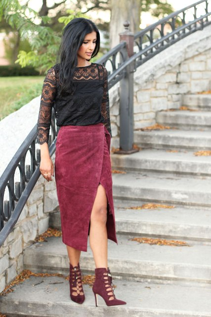 With black lace shirt and cutout boots