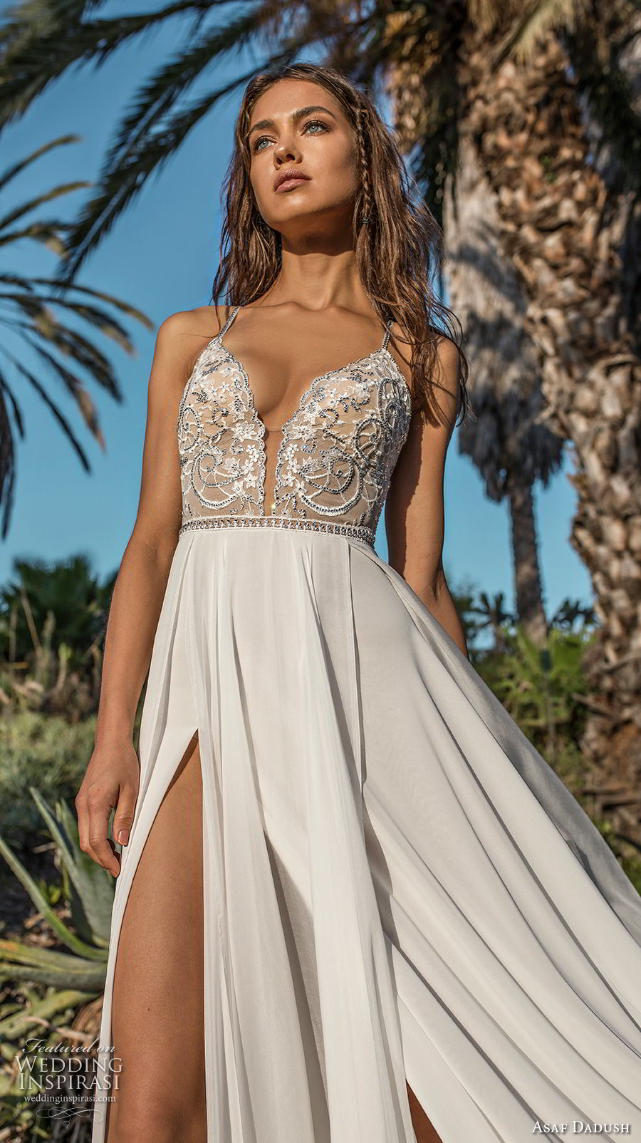 asaf dadush 2018 bridal spaghetti strap deep plunging sweetheart neckline heavily embellised bodice double slit slirt romantic soft a line wedding dress open strap back sweep train (10) zv