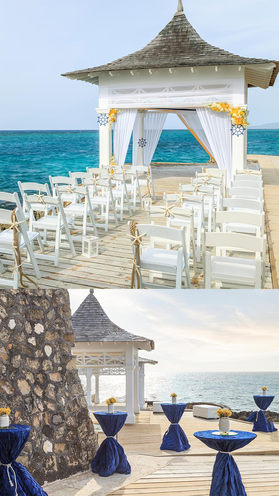 apple vacations jamaican destination wedding couples resorts tower isles ocho rios beach front wedding decor