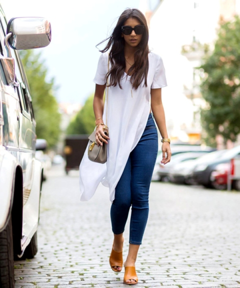 With jeans, brown mules and gray bag