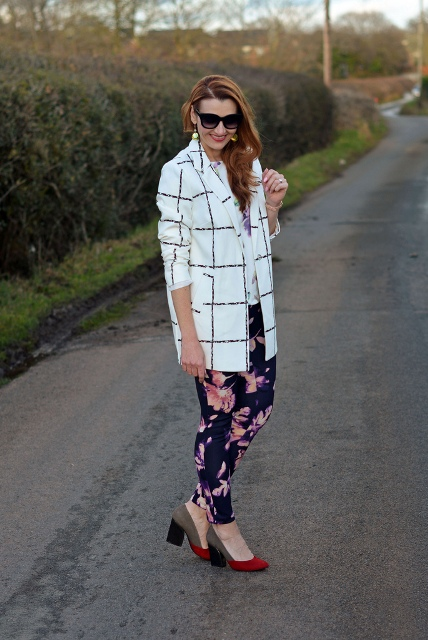 With checked blazer and two colored shoes