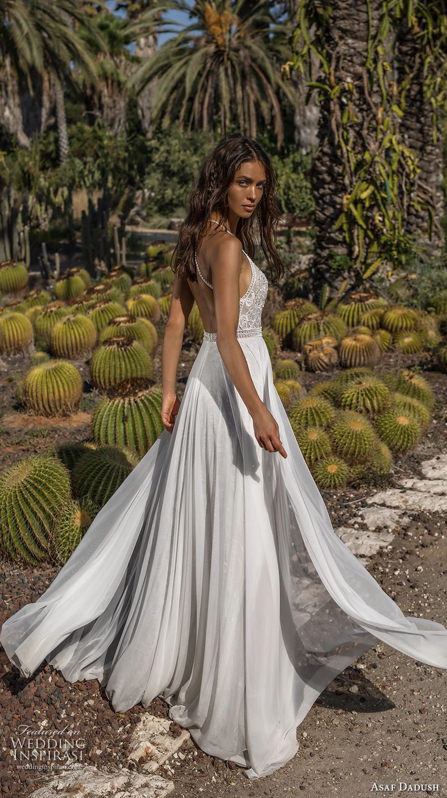 asaf dadush 2018 bridal sleevless halter jswel neck heavily embellished bodice double slit skirt romantic soft a line wedding dress open back sweep train (11) bv
