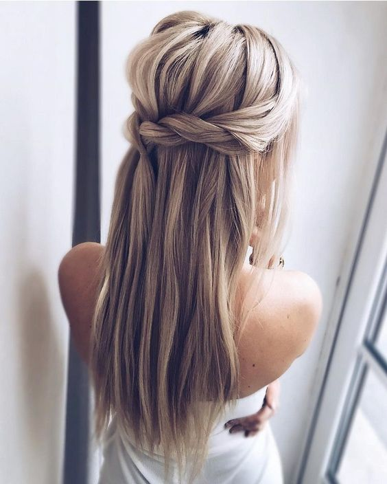 Dutch braided half updo hairstyle with long hair down for those who don't want any waves