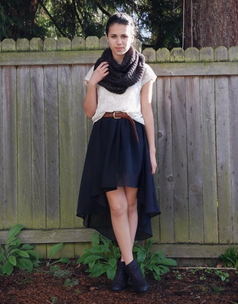 With white shirt, brown belt, ankle boots and infinity scarf