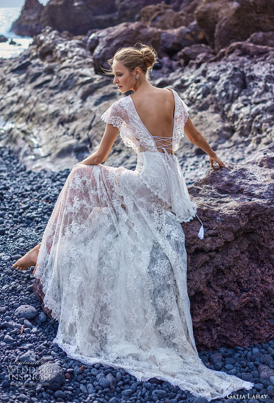 galia lahav gala 2018 bridal butterfly sleeves deep v neck full embellishment bohemian lace a line wedding dress with pockets open back short train (8) bv