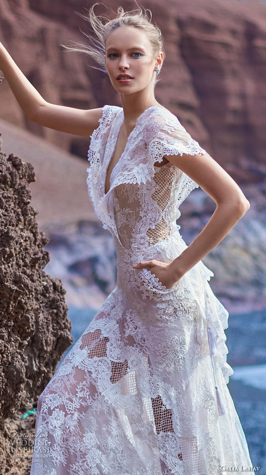 galia lahav gala 2018 bridal butterfly sleeves deep v neck full embellishment bohemian lace a line wedding dress with pockets open back short train (8) zv