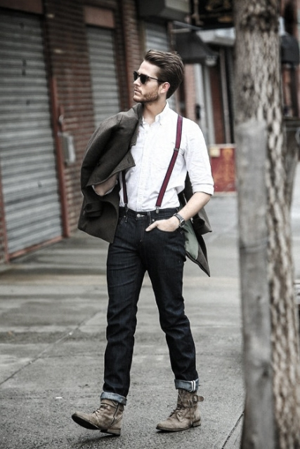 With white shirt, jeans, gray mid calf boots and coat