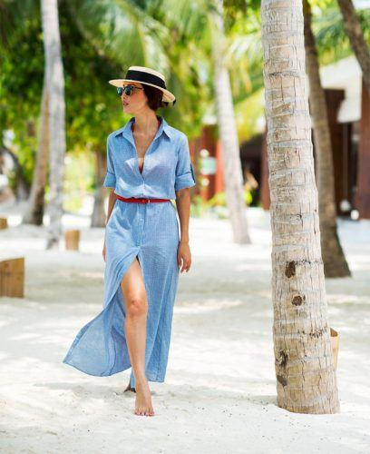 summer-maxi-dress-long-shirt-dress-belted-straw-hat-beach-coverup-beach-party-pool-party-vacation-jetsetter-gary-pepper-640x784-408x500 26 Best Boating Outfit Ideas for Girls-What to Wear On a Boat
