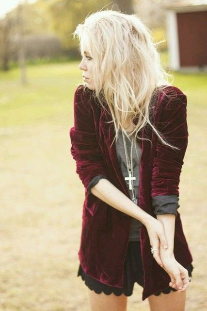 black scallop edge shorts, a grey shirt, a burgundy velvet blazer
