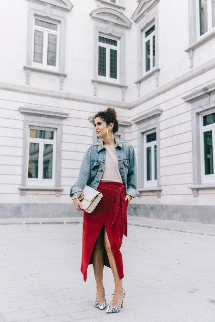 With blouse, printed pumps, denim jacket and white clutch