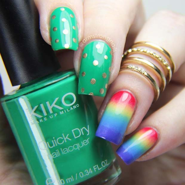 Vibrant Green and Rainbow St Patrick's Day Nails