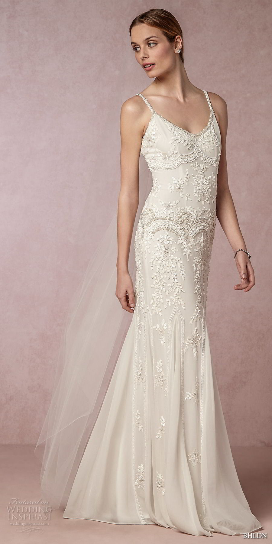 bhldn 2018 away bridal spaghetti strap scoop neckline heavily embellished bodice vintage elegant fit and flare wedding dress sweep train (7) mv