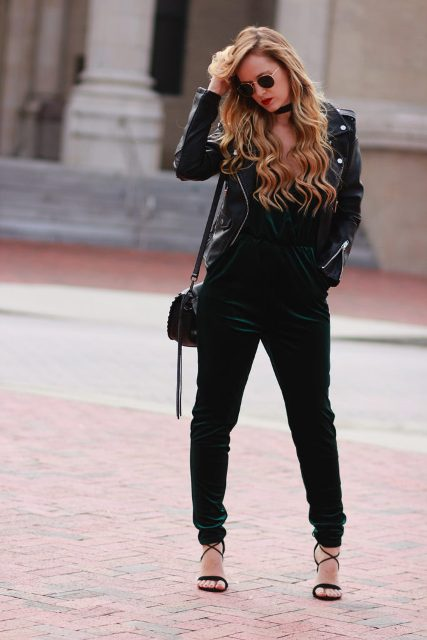 With black jacket, small bag and black sandals