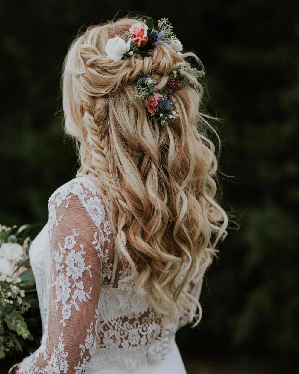 boho bridal hairstyle long hair