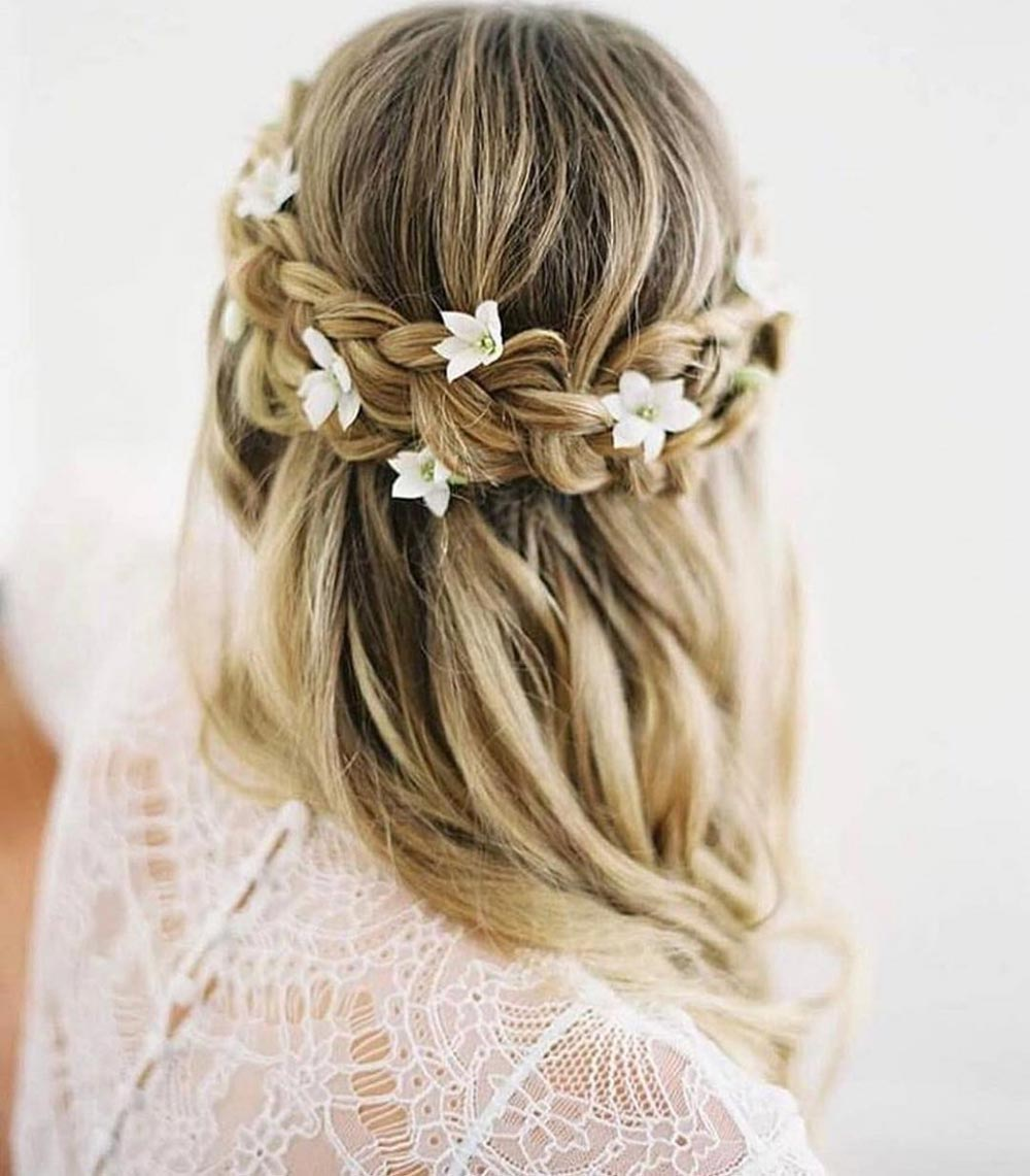 half up half down wedding hair with braid