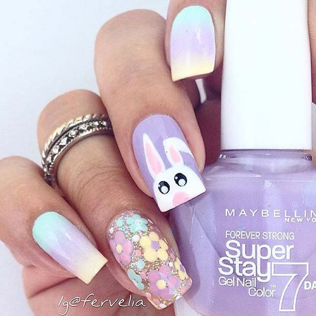 Floral-and-Bunny-Nail-Design
