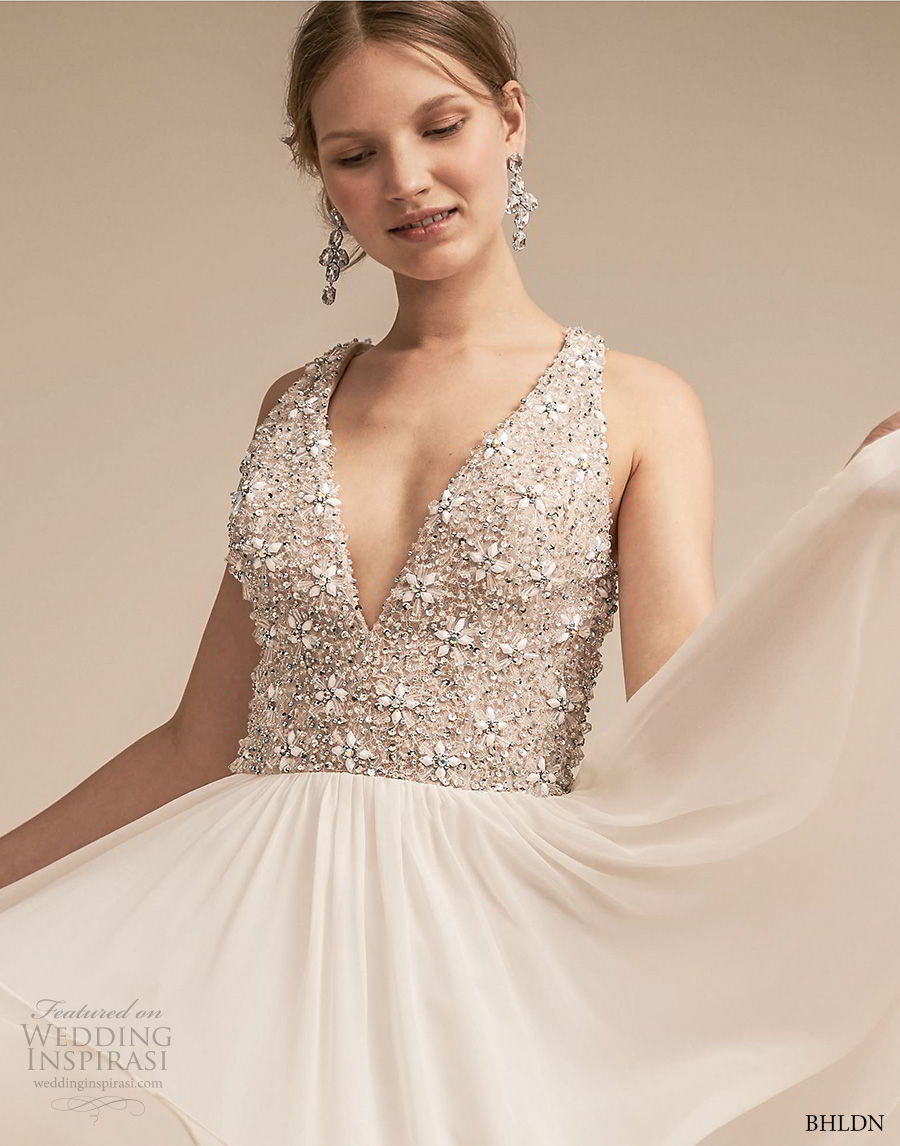 bhldn 2018 away bridal sleeveless deep v neck heavily embellished bodice romantic glamorous soft a line wedding dress covered back sweep train (5) zv