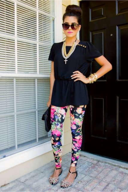 With navy blue blouse, necklace, two colored sandals and black clutch