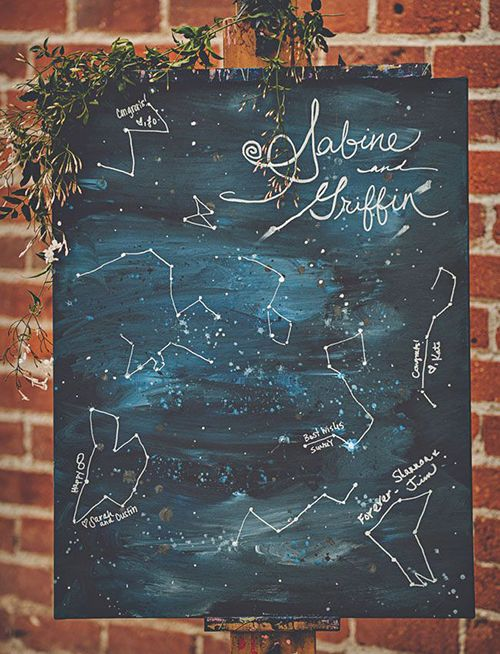 constellation-themed wedding with a proper guest book and decoration in one