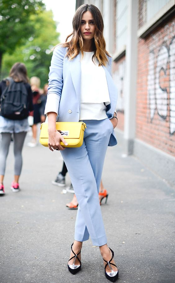 an egg blue pantsuit with a white layered top and fantastic heels with metallic touches for a trendy work outfit