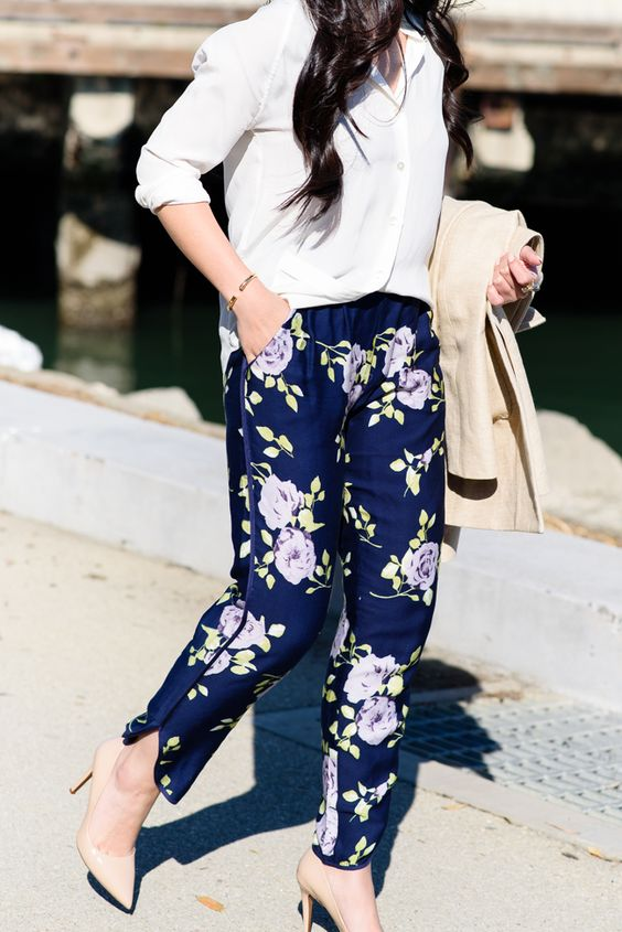 navy floral print pants, a white shirt and nude heels plus a neutral trench for spring