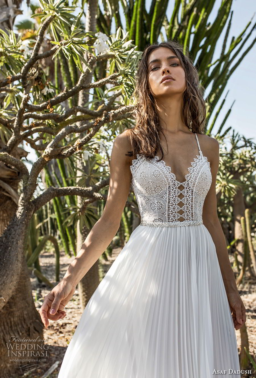 asaf dadush 2018 bridal spaghetti strap sweetheart neckline heavily embellished bodice pleated skirt romantic soft a line wedding dress open back sweep train (6) zv