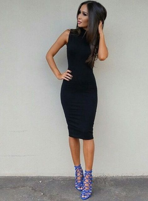 a sexy sleeveless bodycon knee dress plus bold strappy heels are all you need for a super sexy look