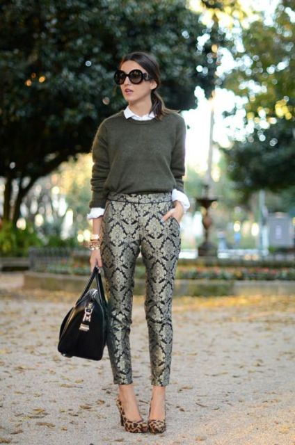 With white shirt, olive green shirt, leopard shoes and black bag