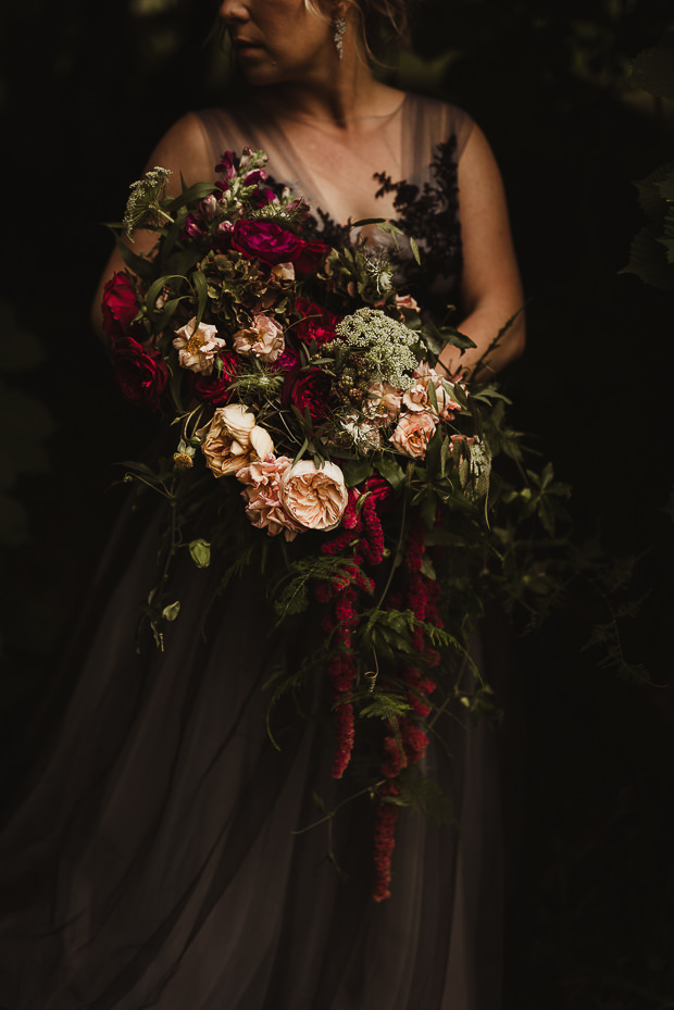 She carried a fantastic bouquet with fuchsia and blush touches