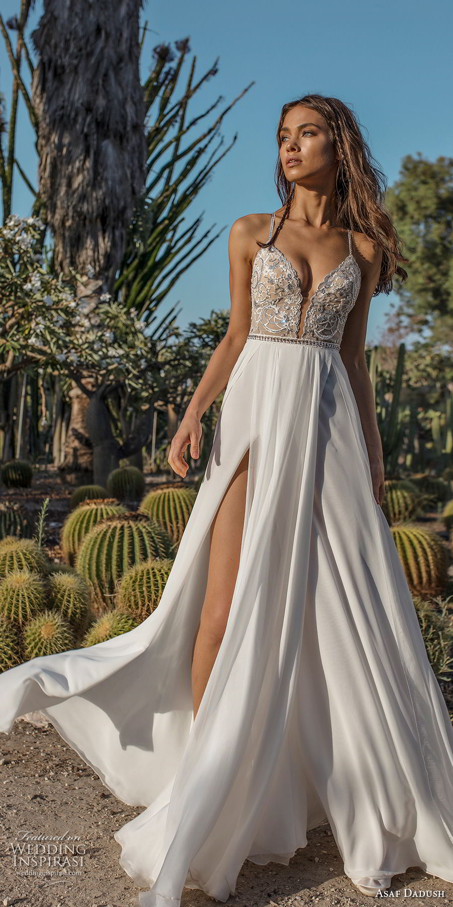 asaf dadush 2018 bridal spaghetti strap deep plunging sweetheart neckline heavily embellised bodice double slit slirt romantic soft a line wedding dress open strap back sweep train (10) mv