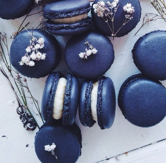 navy macarons with cream for a dessert table