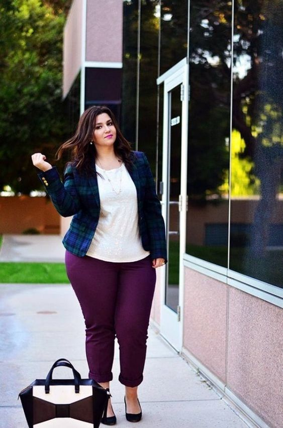 plum-colored cropped pants, a white top, a checked jacket and a cute tote